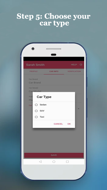 PinkCab Driver app step 5