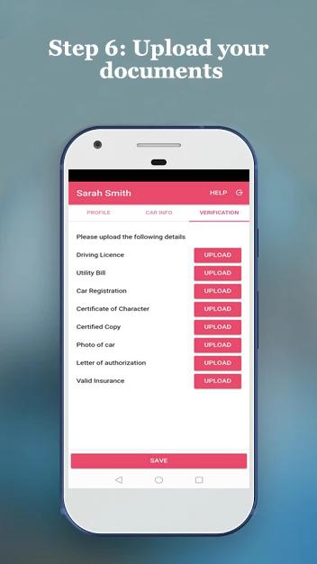 PinkCab Driver app step 6